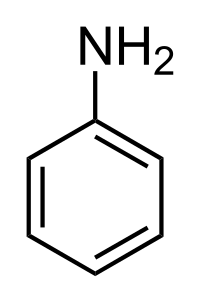 The chemical structure of aniline. Image: public domain.