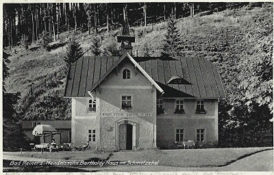 "The ""Mendelssohn House"" at the foundry which Arnold's father Nathan operated from 1823 to 1828.  Post card, 1939, private collection."